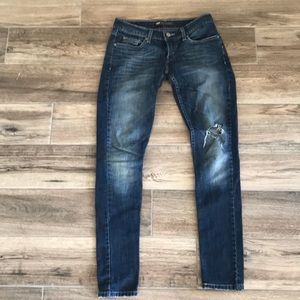 Levi's 524 Too Superlow distressed skinny jeans